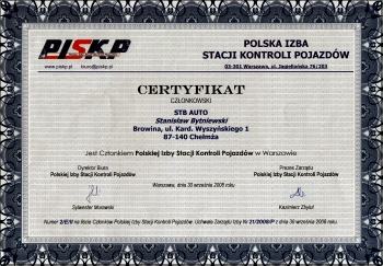 Certyfikat członkowski PISKP
