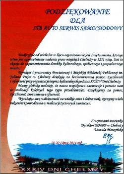 Pomoc w organizacji Dni Chełmży 2014