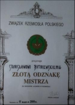 Złota odznaka mistrza za szkolenie uczniów w rzemiośle